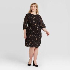 AVA + VIV Floral Print 3/4 Sleeve Dress Sz 1X NEW